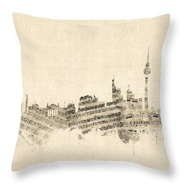 Berlin Germany Skyline Sheet Music Cityscape Throw Pillow by Michael Tompsett