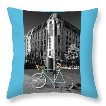 Berlin Street View With Bianchi Bike Throw Pillow by Ben and Raisa Gertsberg