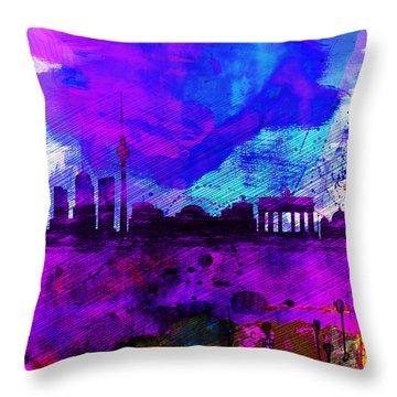 Berlin Watercolor Skyline Throw Pillow by Naxart Studio