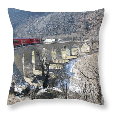 Throw Pillow featuring the photograph Bernina Express In Winter by Travel Pics