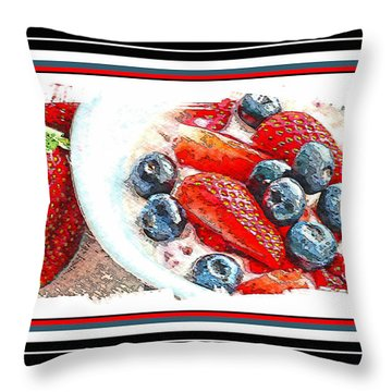 Berries And Yogurt Illustration - Food - Kitchen Throw Pillow by Barbara Griffin