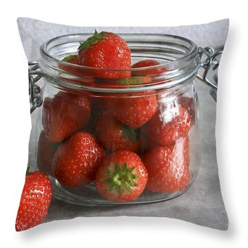 Berry Strawberries Throw Pillow by Tracy  Hall
