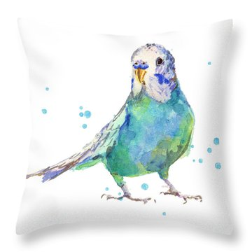 Bertie Wonderblue The Budgie Throw Pillow by Alison Fennell