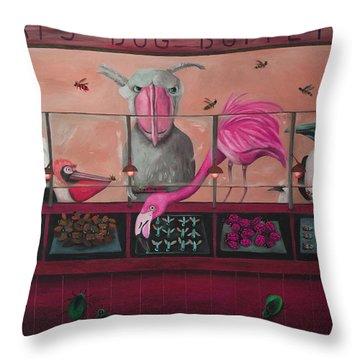Bert's Bug Buffet Edit 2 Throw Pillow by Leah Saulnier The Painting Maniac