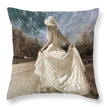 Beside Myself The Moon Throw Pillow by Betsy Knapp