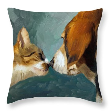Best Friends Throw Pillow by Angela A Stanton