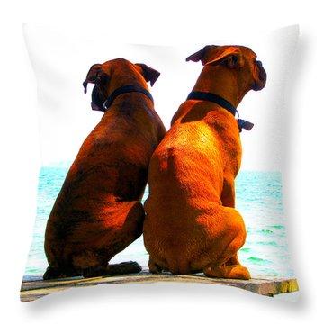 Best Friends Dog Photograph Fine Art Print Throw Pillow by Laura  Carter