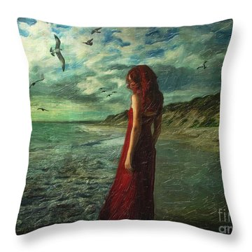 Between Sea And Shore Throw Pillow by Lianne Schneider