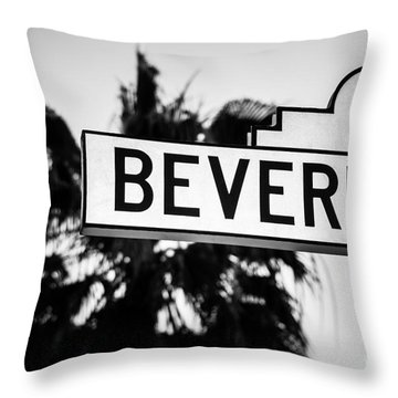 Beverly Boulevard Street Sign In Black An White Throw Pillow by Paul Velgos