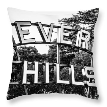 Beverly Hills Sign In Black And White Throw Pillow by Paul Velgos