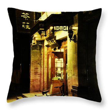 Bicycle On The Streets Of Beijing At Night Throw Pillow by Jani Bryson