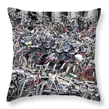 Bicycle Parking Lot Throw Pillow by Oscar Gutierrez