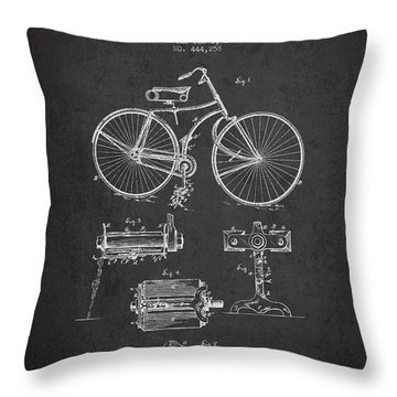 Bicycle Patent Drawing From 1891 Throw Pillow by Aged Pixel