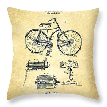 Bicycle Patent Drawing From 1891 - Vintage Throw Pillow by Aged Pixel