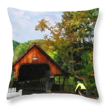 Bicyclist At Middle Bridge Woodstock Vt Throw Pillow by Susan Savad