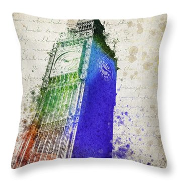 Big Ben Throw Pillow by Aged Pixel