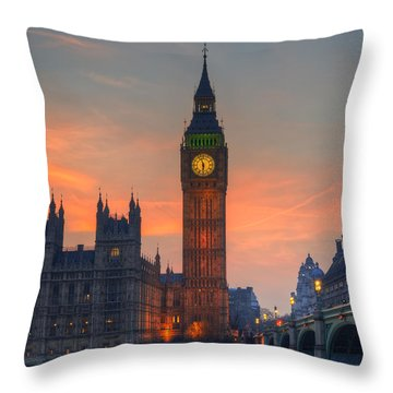 Big Ben Parliament And A Sunset Throw Pillow by Matthew Gibson