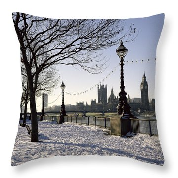 Big Ben Westminster Abbey And Houses Of Parliament In The Snow Throw Pillow by Robert Hallmann