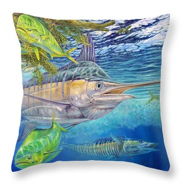 Terry Bird Decorative Pillow : Big Blue Hunting In The Weeds Painting by Terry Fox