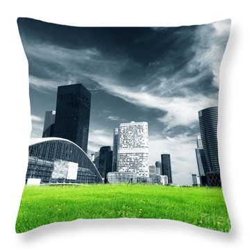 Big City And Green Fresh Meadow Throw Pillow by Michal Bednarek