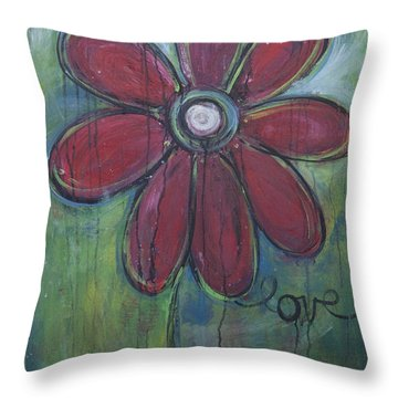 Big Love Daisey Throw Pillow by Laurie Maves ART