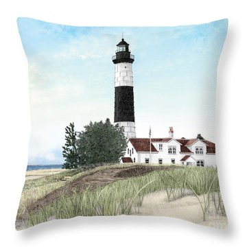 Big Sable Point Lighthouse Throw Pillow by Darren Kopecky