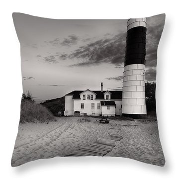 Big Sable Point Lighthouse In Black And White Throw Pillow by Sebastian Musial