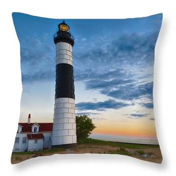 Big Sable Point Lighthouse Sunset Throw Pillow by Sebastian Musial