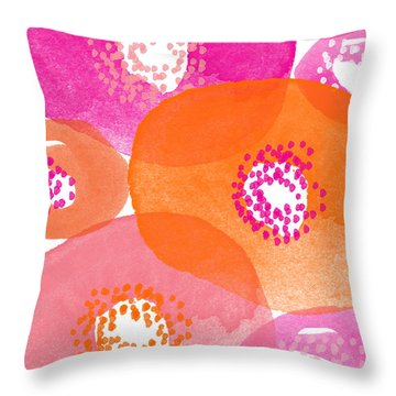 Big Spring Flowers- Contemporary Watercolor Painting Throw Pillow by Linda Woods