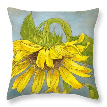 Big Sunflower Throw Pillow by Tracie Thompson