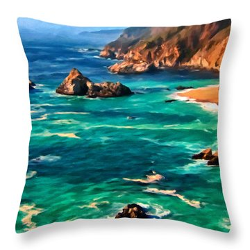 Big Sur Coast Throw Pillow by Michael Pickett