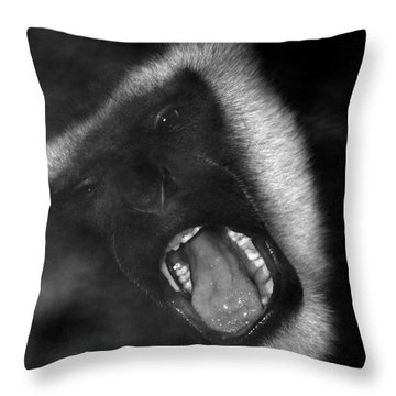 Big Yawn From This Monkey Throw Pillow by Thomas Woolworth