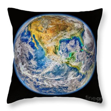 Biggest Image Of Earth Ever N. A. S. A Throw Pillow by Bob and Nadine Johnston