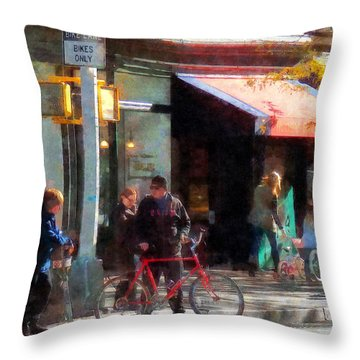 Bike Lane Throw Pillow by Susan Savad