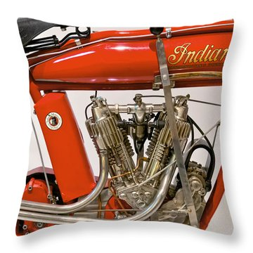 Bike - Motorcycle - Indian Motorcycle Engine Throw Pillow by Mike Savad