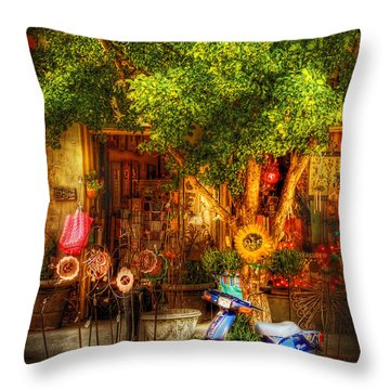 Bike - Scooter - Sitting Amongst Urban Flowers Throw Pillow by Mike Savad