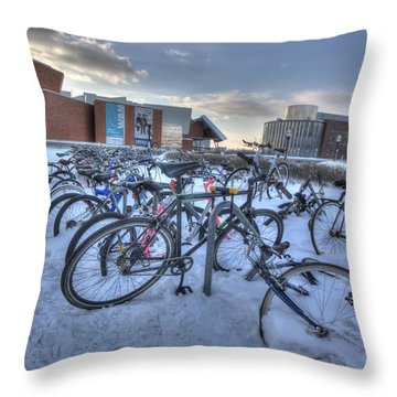 Bikes At University Of Minnesota  Throw Pillow by Amanda Stadther