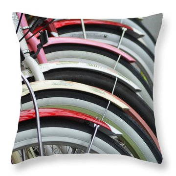 Bikes In A Row Throw Pillow by Joie Cameron-Brown