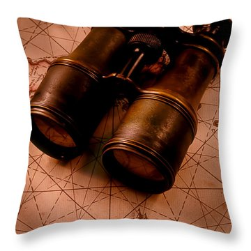 Binoculars On Old Map Throw Pillow by Garry Gay