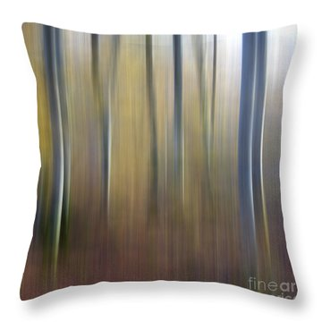 Birch Trees. Abstract. Blurred Throw Pillow by Bernard Jaubert