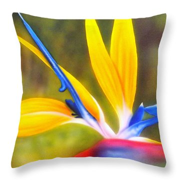 Bird Of Paradise Revisited Throw Pillow by Darren Robinson