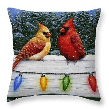 Bird Painting - Christmas Cardinals Throw Pillow by Crista Forest