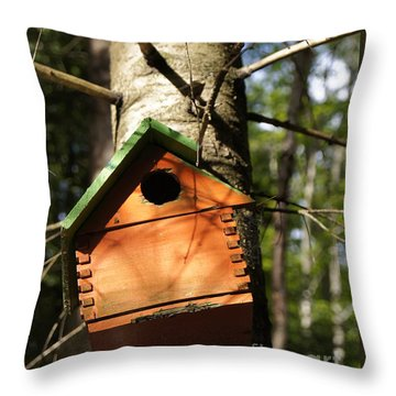Birdhouse By Line Gagne Throw Pillow by Line Gagne