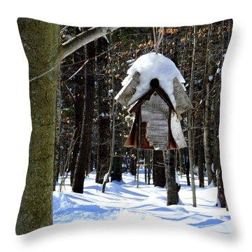 Birdhouse In Winter Throw Pillow by Avis  Noelle
