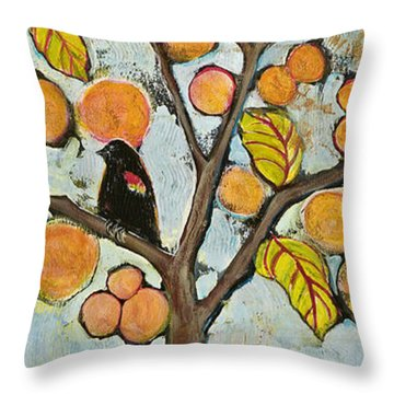 Birds In Paris Landscape Throw Pillow by Blenda Studio