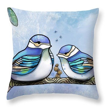 Birds Of Blue Throw Pillow by Karin Taylor