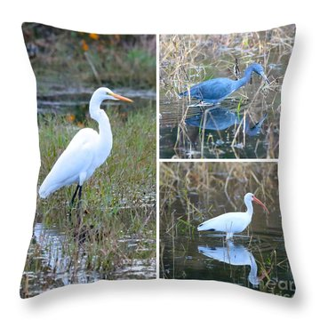 Birds On Pond Collage Throw Pillow by Carol Groenen