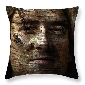 Birtch Green Man Throw Pillow by Christopher Gaston