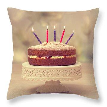 Birthday Cake Throw Pillow by Amanda Elwell
