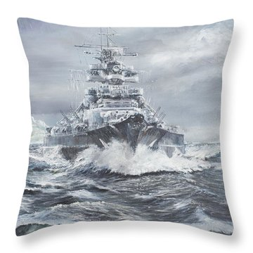 Bismarck Off Greenland Coast  Throw Pillow by Vincent Alexander Booth